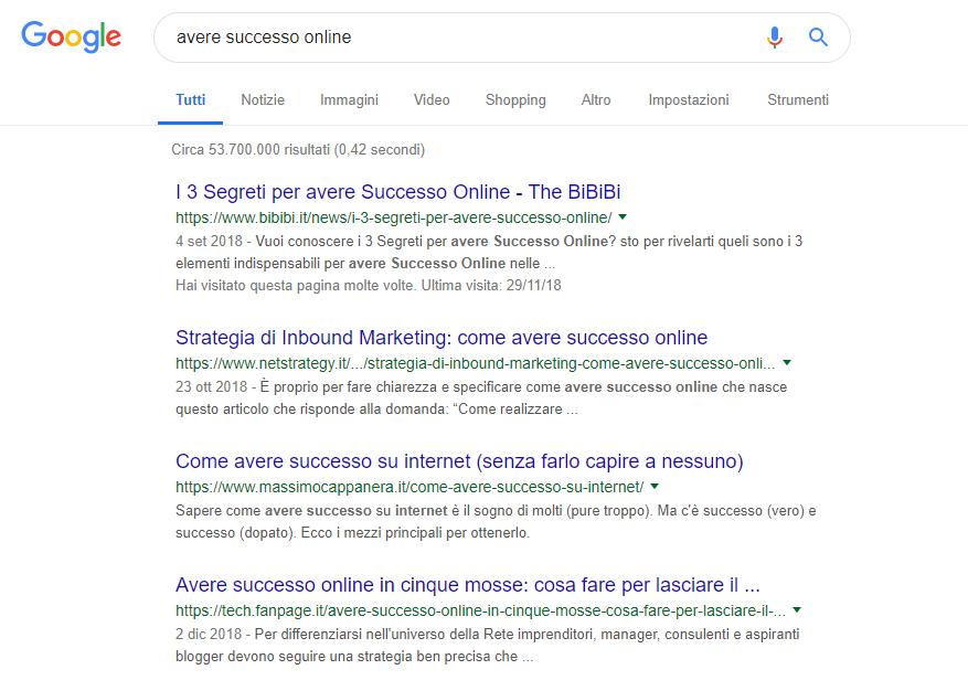 risultati organici serp google