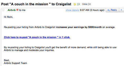 airbnb craigslist email
