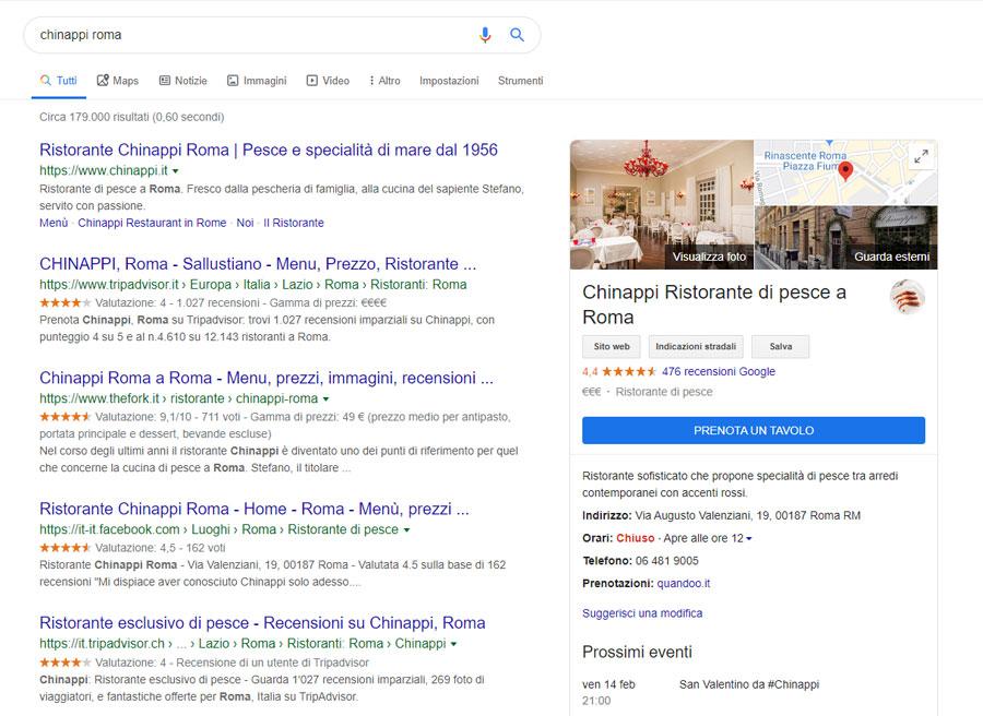 scheda google my business ristorante chinappi