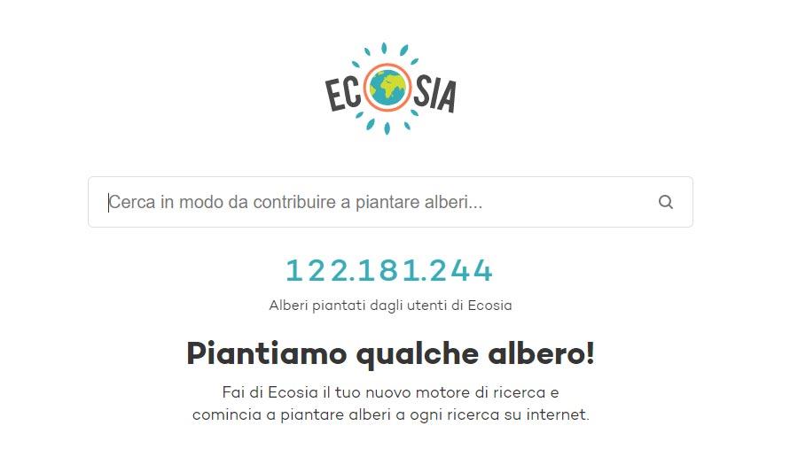 ecosia interfaccia